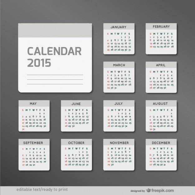 Minimaliste 2015 calendrier Vecteur gratuit