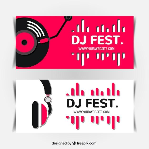 Minimaliste bannières festival de musique Vecteur gratuit