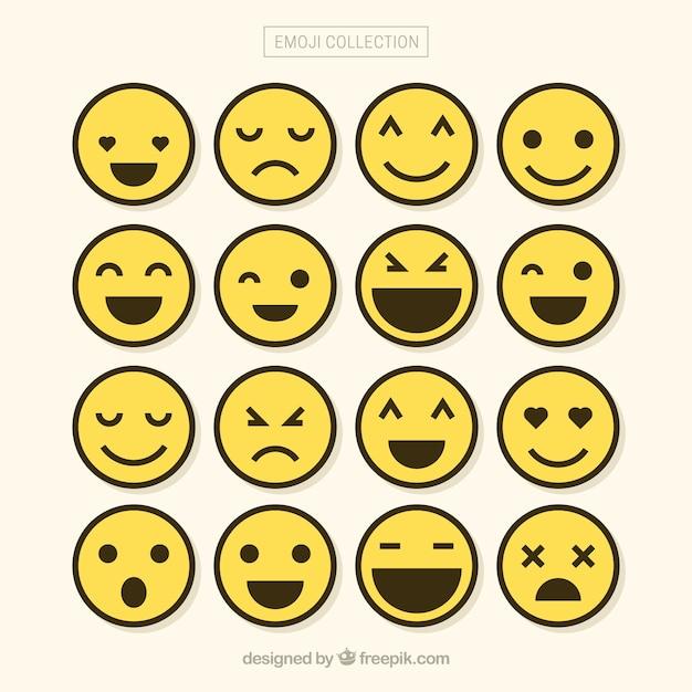 Minimaliste ensemble de emojis Vecteur gratuit