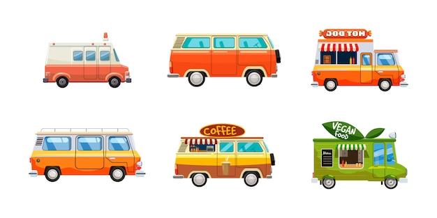 Minivan set. jeu de dessin animé de monospace Vecteur Premium