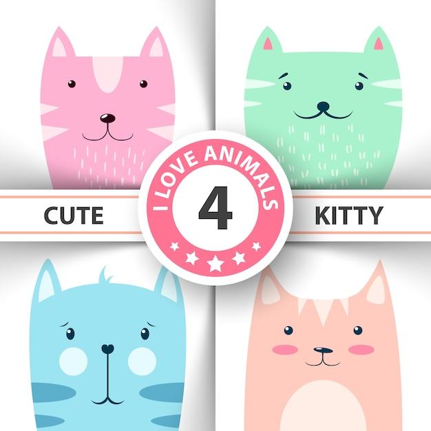 Minou mignon et drôle, personnages de chat. Vecteur Premium