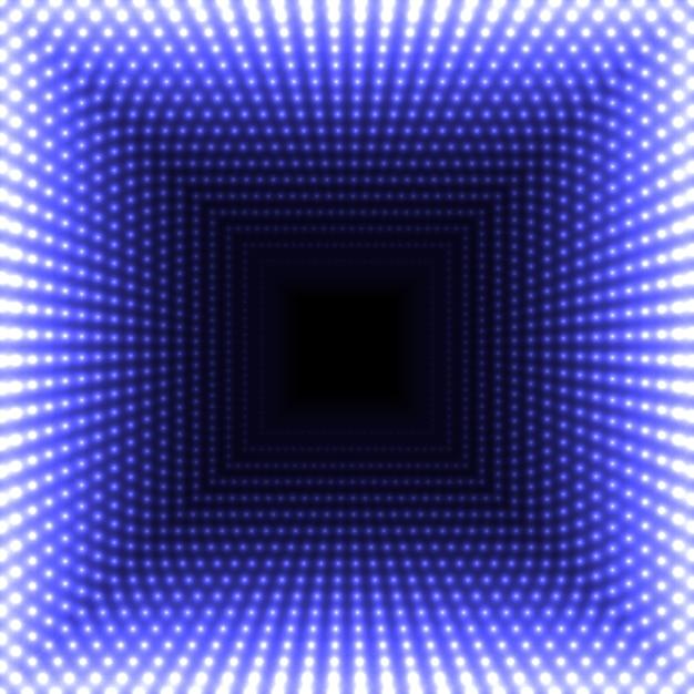 Miroir Led Abstrait Fond Carré. Des Lumières Bleues Flamboyantes S'estompant Au Centre. Vecteur Premium