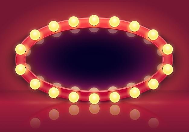 Miroir De Maquillage. Cadre De Miroirs De Lumières, Ampoules D'éclairage Et Illustration Intérieure De Vestiaire Dans Les Coulisses Vecteur Premium
