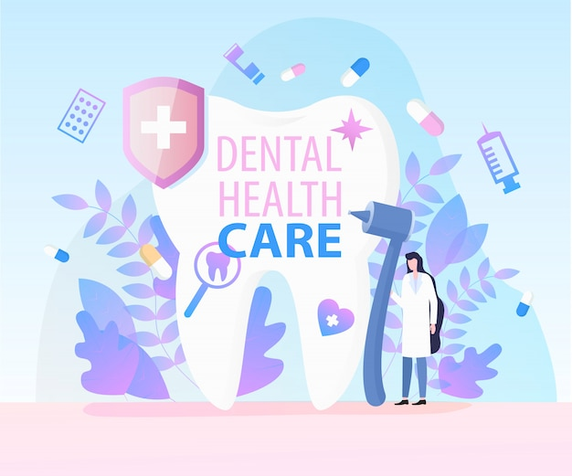 Miroir de seringue de foret de matériel médical de dentiste soins de santé dentaires Vecteur Premium