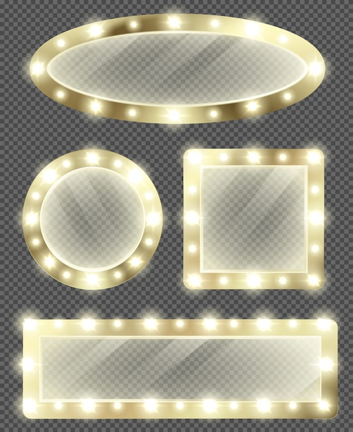 Miroirs De Maquillage Dans Un Cadre Doré Avec Des Ampoules Vecteur gratuit