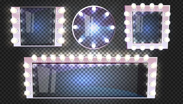 Miroirs De Maquillage De Différentes Formes Avec Lampes Ampoule Illustration Cadre Argent Moderne Vecteur gratuit