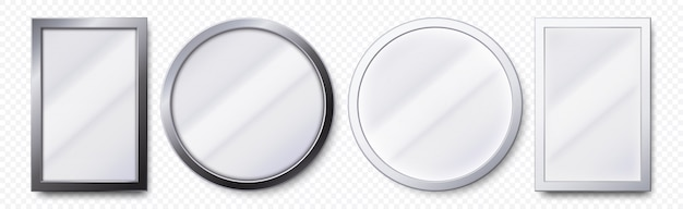 Miroirs Réalistes. Cadre De Miroir Rond Et Rectangulaire En Métal, Ensemble De Modèles De Miroirs Blancs Vecteur Premium