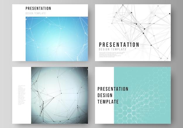 La mise en page abstraite des modèles d'affaires de diapositives de présentation Vecteur Premium