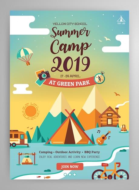 Mise en page des affiches du camp d'été Vecteur Premium