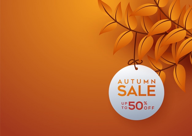 Mise en page de fond de vente automne décorer avec des feuilles Vecteur Premium