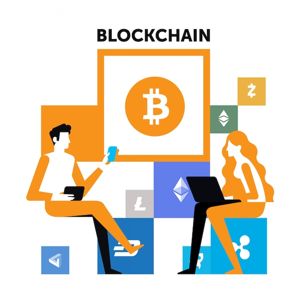 Mise en page des illustrations de blockchain. un homme et une femme peuvent crypter. Vecteur Premium