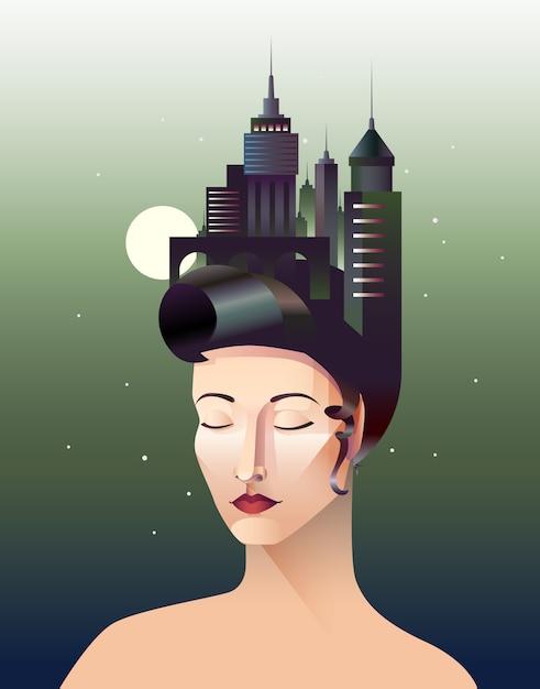 Miss geometry portrait abstrait de femme aux yeux fermés Vecteur gratuit