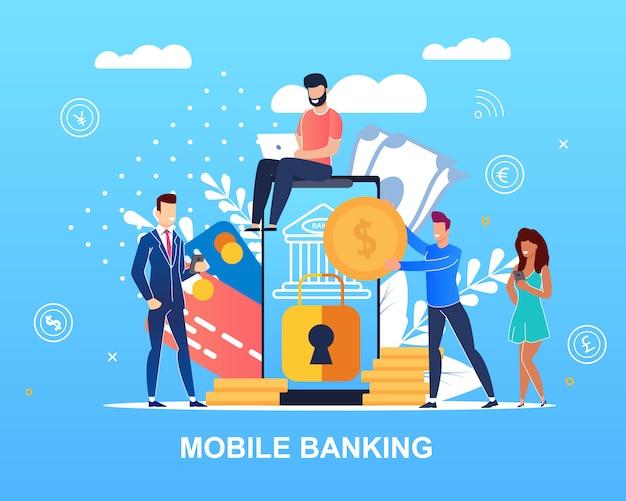 Mobile banking écrit Vecteur Premium