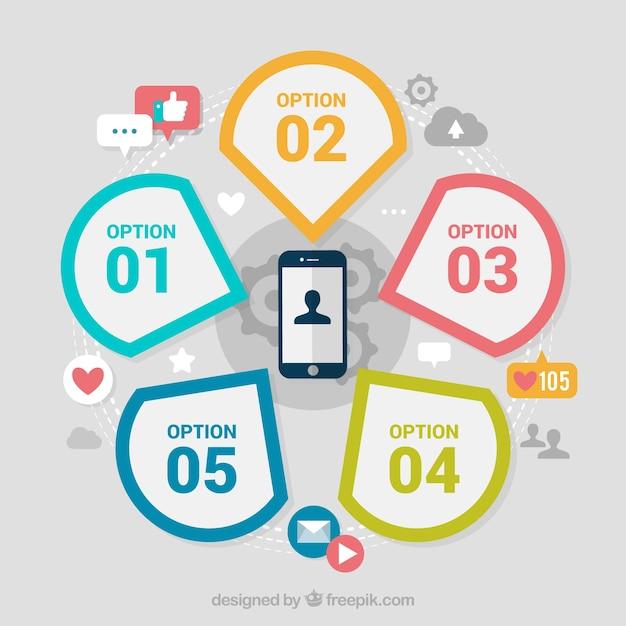Mobile avec des éléments infographiques Vecteur gratuit