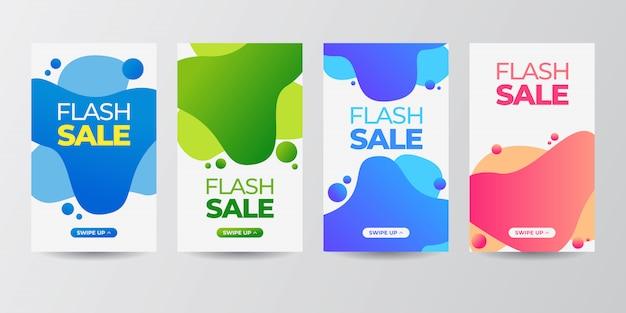 Mobile fluide moderne dynamique pour jeu de bannière de vente flash Vecteur Premium