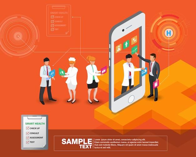 Mobile isométrique isométrique Vecteur Premium
