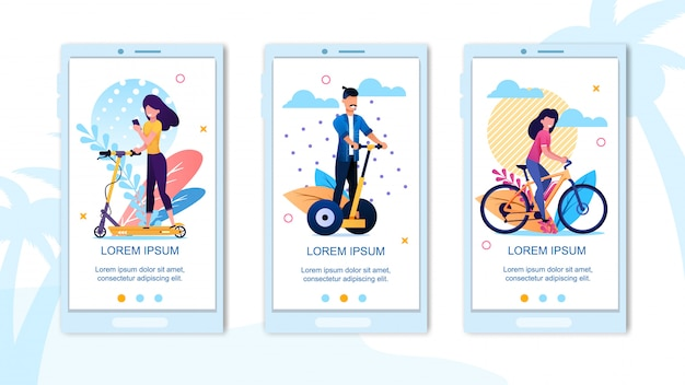 Mobile landing page ensemble de temps de vacances actives Vecteur Premium