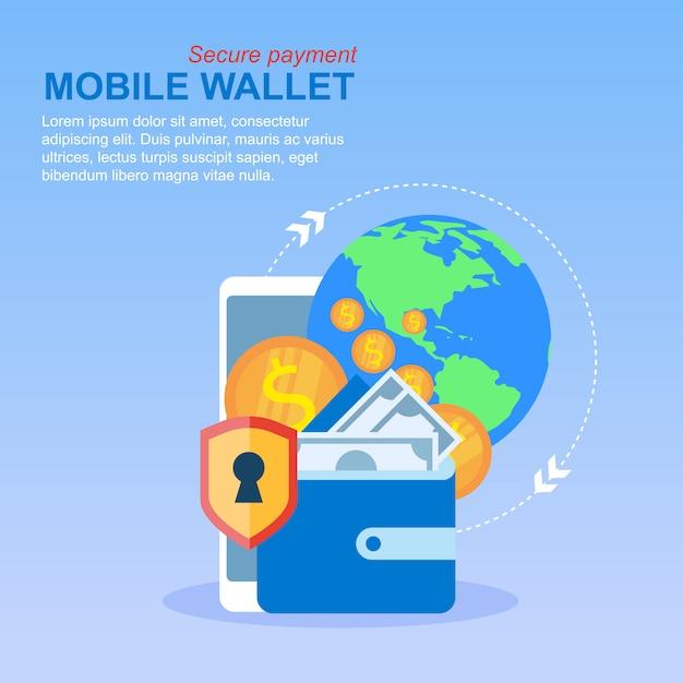 Mobile phone wallet money transfer paiement global Vecteur Premium