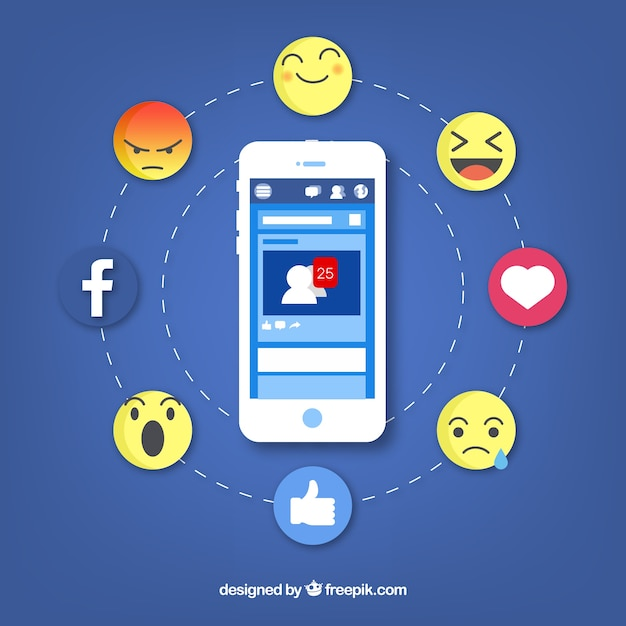 Mobile à plat avec notifications facebook et emojis Vecteur gratuit
