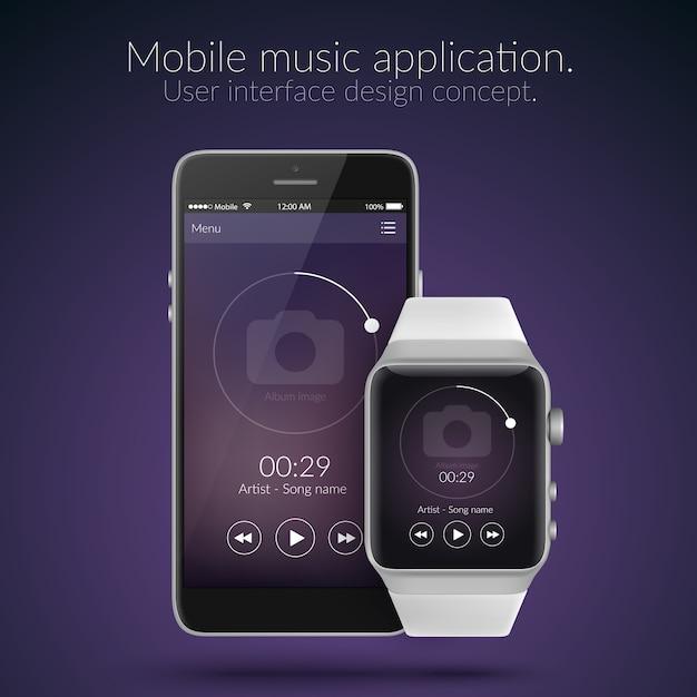 Mobile Et Regarder Le Concept De Conception D'interface Utilisateur D'application De Musique En Illustration Plate De Couleurs Sombres Vecteur gratuit
