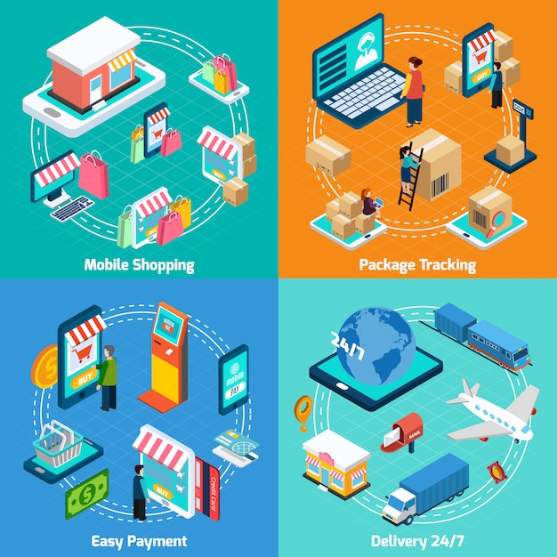 Mobile shopping isometric elements set Vecteur gratuit
