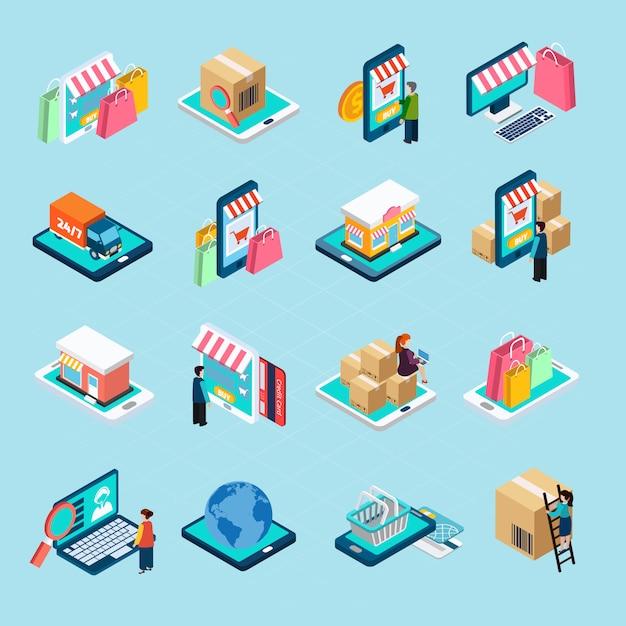 Mobile shopping isometric icons set Vecteur gratuit
