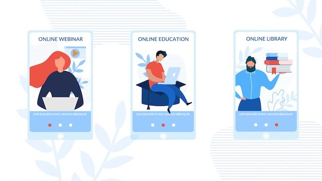 Mobile social pages set publicité e-learning Vecteur Premium