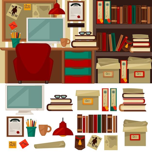 Mobilier de bureau à domicile intérieurs et objets de bibliothèque Vecteur Premium