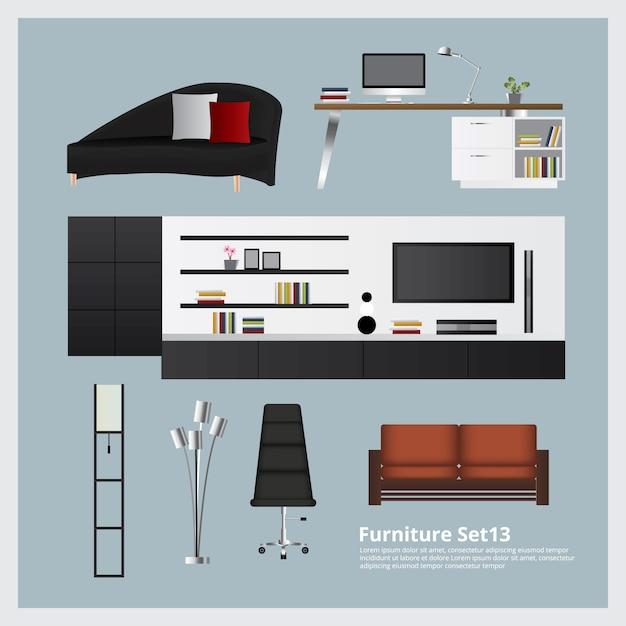 Mobilier et décoration de la maison set vector illustration Vecteur Premium
