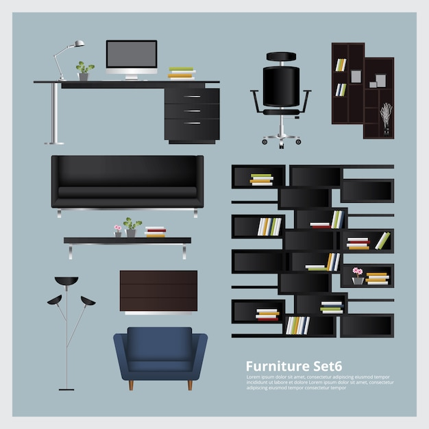 Mobilier et décoration de la maison set vector illustration Vecteur Premium