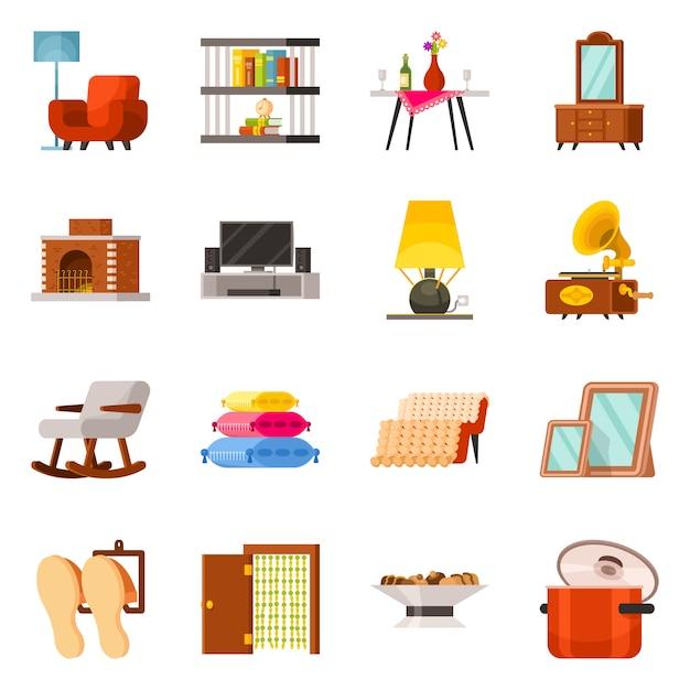 Mobilier De Design Vectoriel Et Icône D'intérieur. Symbole De Stock De Meubles Et Accessoires De Collection. Vecteur Premium
