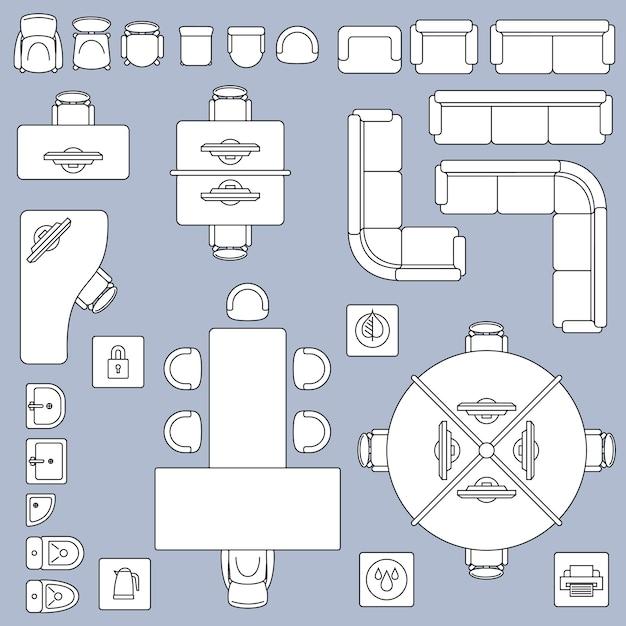 Mobilier de réunion de bureau, icônes de ligne vecteur architecture plan Vecteur Premium