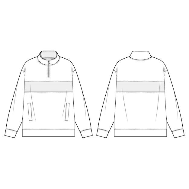 Mock neck half zip anorak modèles de modèles plats Vecteur Premium