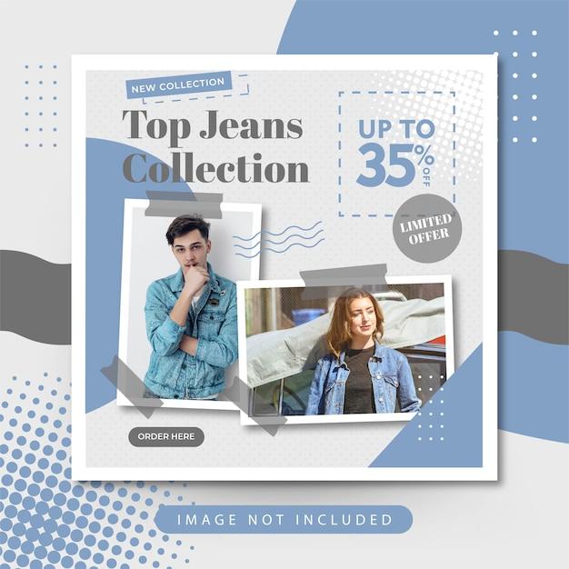 Mode élégante Vente De Jeans Sur Les Médias Sociaux Instagram Post Vecteur gratuit
