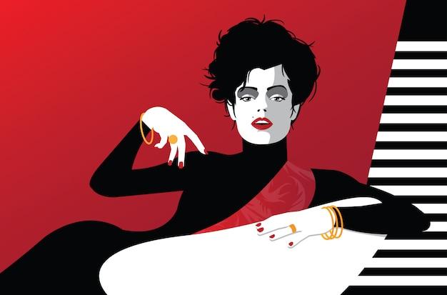 Mode femme en style pop art. illustration vectorielle Vecteur Premium