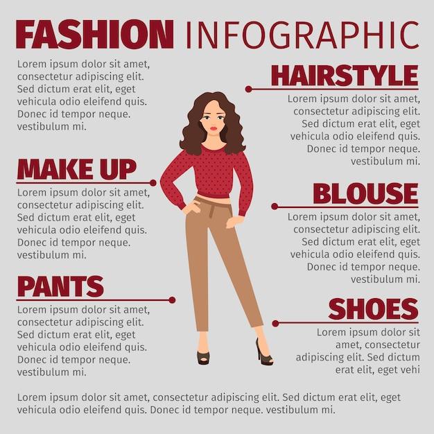 Mode infographie avec fille en pull Vecteur Premium