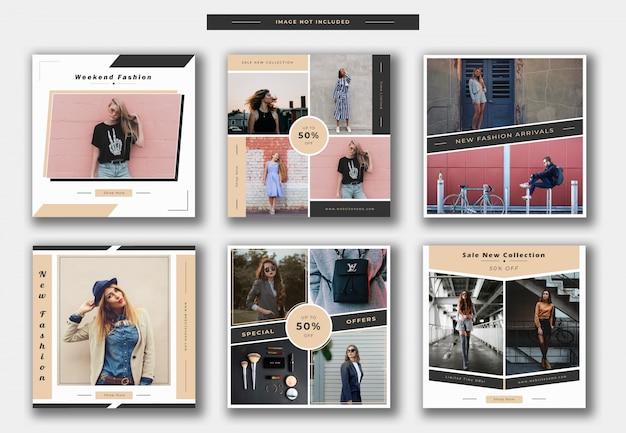 Mode instagram post ou collection de bannière carrée Vecteur Premium