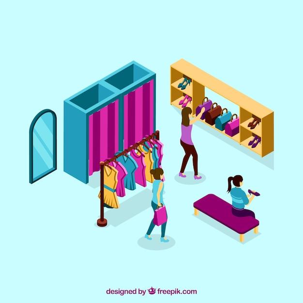mode int rieur magasin de mode dans le style isom trique t l charger des vecteurs gratuitement. Black Bedroom Furniture Sets. Home Design Ideas