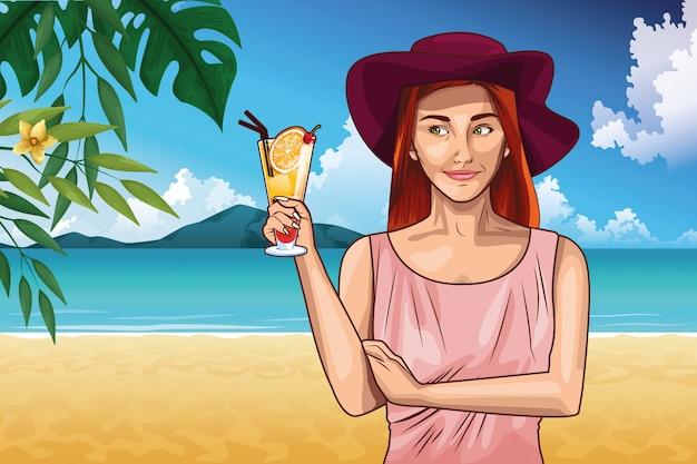 Mode pop art et dessin animé de belle femme Vecteur gratuit