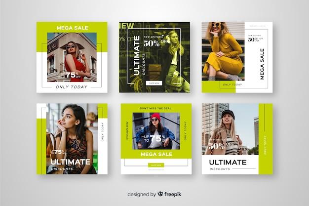 Mode vente médias sociaux bannière collectio Vecteur gratuit
