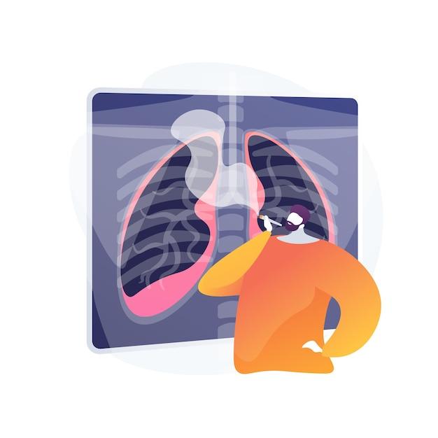 Mode De Vie Malsain, Homme Fumant Une Cigarette. Fumeur Endommageant Les Poumons, Danger De Maladie Respiratoire. Dépendance à La Nicotine, Habitude Nuisible, Danger Pour La Santé. Vecteur gratuit