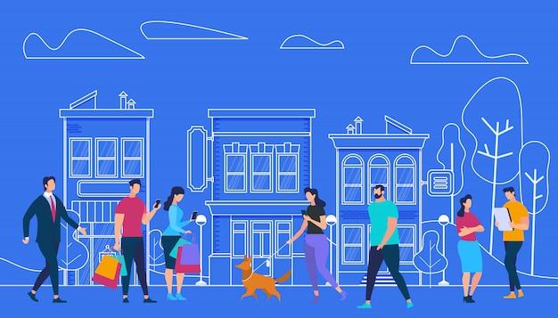 Mode De Vie Des Personnes Actives. Vue Sur La Ville Et Les Maisons Vecteur Premium