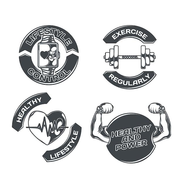 Mode De Vie Sain Serti De Quatre Emblèmes Isolés Avec Des Images De Coeur D'exercices Physiques Et Texte Modifiable Vecteur gratuit