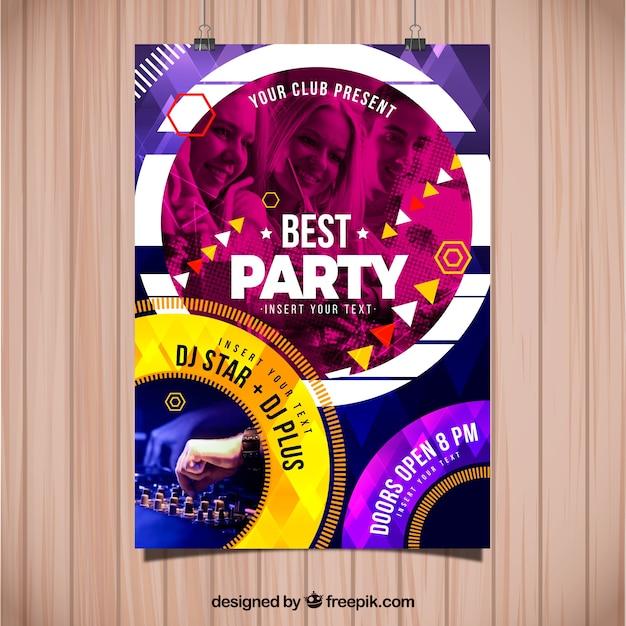 Modèle abstrait affiche de fête avec photo Vecteur gratuit
