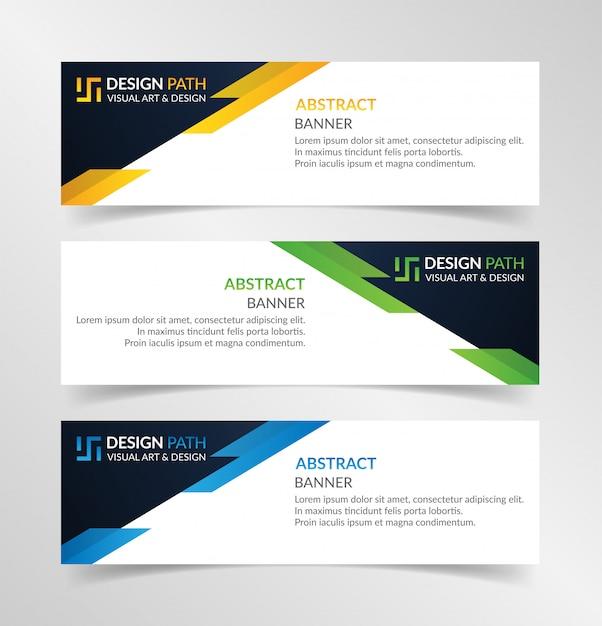 Modèle abstrait bannières colorées Vecteur Premium