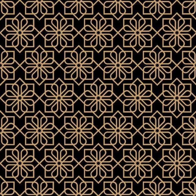 Modèle abstrait fleur transparente noire dans le style oriental Vecteur Premium