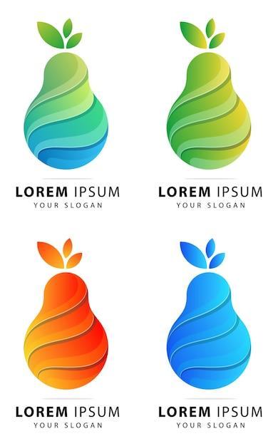 Modèle Abstrait De Logo Poire Coloré Vecteur Premium