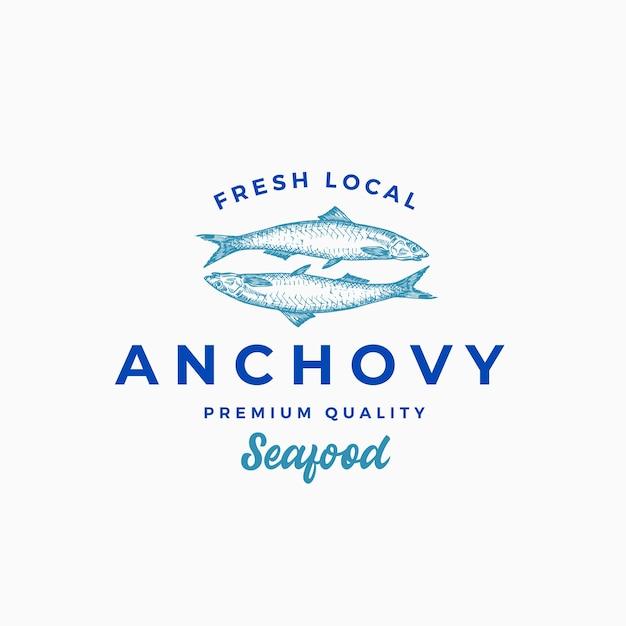 Modèle Abstrait Signe, Symbole Ou Logo D'anchois Local Frais. Vecteur gratuit