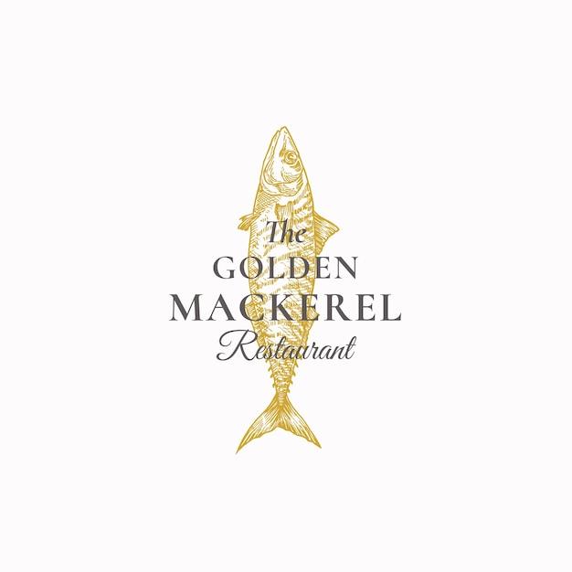 Le Modèle Abstrait De Signe, De Symbole Ou De Logo De Restaurant De Maquereau D'or. Vecteur gratuit