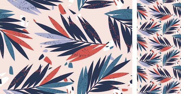 Modèle Abstrait Tropical Sans Couture Avec Des Feuilles De Palmier Vecteur Premium